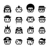 Smiley faces. Set of Smiley faces men  characters Royalty Free Stock Photos
