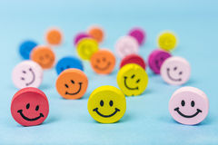 Smiley faces. Buttons of smiley faces in different colors Royalty Free Stock Photo