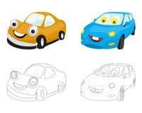Smiley faces cartoon cars in two types: colored and contour Stock Photo