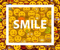 Smiley faces design elements. Background with smiles. Happiness concept. Royalty Free Stock Photos