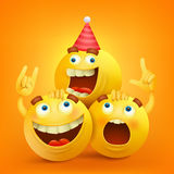 Smiley faces emoticon characters with facial expressions. Stock Images