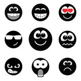 Smiley faces expressing different feelings, black and white version Stock Photo