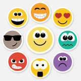 Smiley faces expressing different feelings, colored version Royalty Free Stock Image