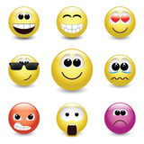 Smiley faces expressing different feelings Royalty Free Stock Photo