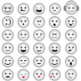 Smiley Faces Grey Design. Set of Smiley Faces with Basic Emotional Expressions. Vector Illustration royalty free illustration