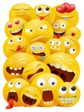 Smiley faces group of vector emoticon characters with funny facial expressions. vector illustration