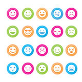 Smiley faces icon set. Stock Photo