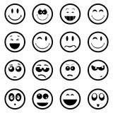 Smiley faces icons set. In black stock illustration
