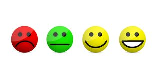 smiley faces levels icons illustration isolated over a white royalty free stock photography