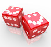 Smiley Faces on Red Dice Stock Photos