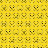 Smiley Faces Seamless Pattern tiré par la main Photo libre de droits