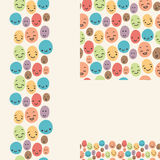 Smiley faces set of seamless patterns and borders Royalty Free Stock Image