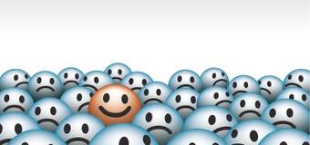 Smiley faces. Unhappy vs happy Royalty Free Stock Photography