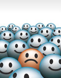 Smiley faces. Unhappy vs happy Stock Photos