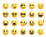 Smiley faces vector emoticons set with funny facial expressions Stock Image