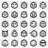 Smiley faces vector icons set on gray Royalty Free Stock Image