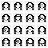 Smiley faces vector icons set on gray. Smiley faces icons set  on grey background.EPS file available Stock Photo