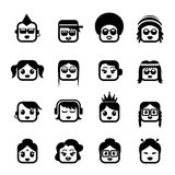 Smiley faces women characters Royalty Free Stock Images