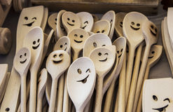 Smiley faces. On wooden spoons Royalty Free Stock Photography