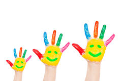 Smiley on family hands, having fun concept stock photography