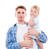 Smiley father and baby Stock Images