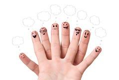 Smiley do dedo com bolhas do discurso. Fotografia de Stock Royalty Free