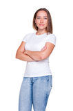 Smiley female in white t-shirt Royalty Free Stock Images