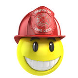 Smiley fireman. 3d illustration on white Royalty Free Stock Images