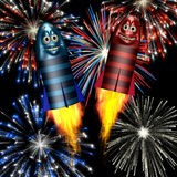 Smiley Fireworks Rockets. Shooting off with fireworks exploding behind vector illustration