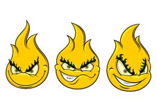 Smiley flame. Vector illustration of yellow smiley with various expression Royalty Free Stock Photo