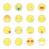 Smiley Flat Icons Set Emoji et ligne style plat d'émoticônes les icônes dirigent d'isolement sur le fond blanc illustration de vecteur