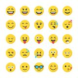Smiley Flat Icons Set. This flat icon set of smileys has a huge range of emoticons presenting various expressions. An excellent and wide range of options of Stock Photo