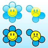 Smiley flower happy/unhappy. With lost petals vector illustration