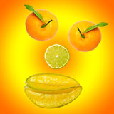 A smiley of fresh fruits Stock Photos