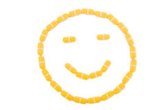 Smiley and friendly face made of pills Stock Image