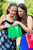 Smiley friends with bags Stock Photo