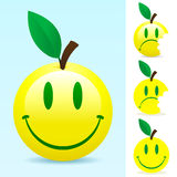 Smiley fruit. Yellow smiley fruit - happy/unhappy vector illustration