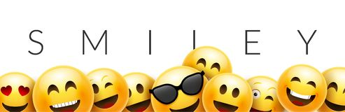Free Smiley Funny Background Emoticon Face Vector Wallpaper. Fun Smile 3d Template Design Stock Image - 140341971
