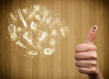 Smiley gais de doigt avec les icônes tirées par la main de nourriture et de cuisine images stock