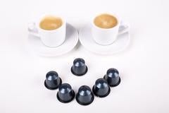 Smiley gemacht von den Tasse Kaffees Lizenzfreies Stockfoto