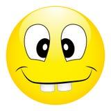 Smiley giallo sciocco divertente con i grandi denti su un fondo bianco Fotografia Stock Libera da Diritti