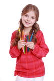 Smiley girl on Art and Education theme Stock Photo
