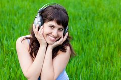 Smiley Girl with the headphones Stock Photography