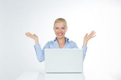 Smiley girl lifts up her arms on isolated royalty free stock images