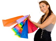 Smiley girl with shopping bags Stock Photo