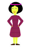 Smiley girl vector. Smiley girl in a flowered dress Stock Photos