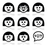 Smiley girl or woman faces, avatar  icons set Stock Photos