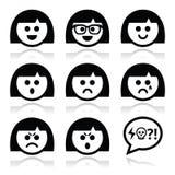 Smiley girl or woman faces, avatar  icons set Stock Photos