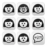Smiley girl or woman faces, avatar vector buttons set Stock Photo