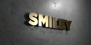 Smiley - Gold sign mounted on glossy marble wall  - 3D rendered royalty free stock illustration Royalty Free Stock Photography